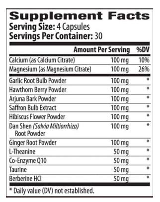 BP Optimizer Supplement Facts