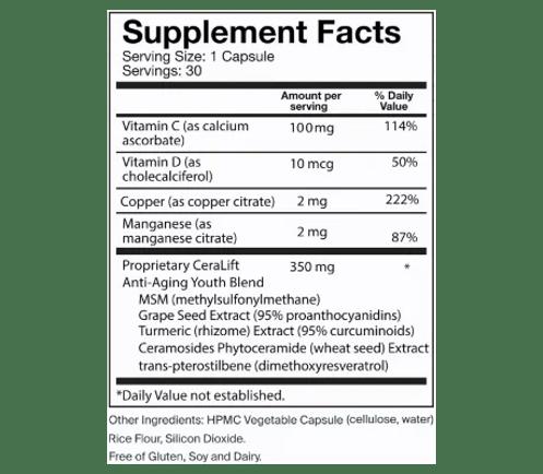Del Mar CeraLift Supplement Facts